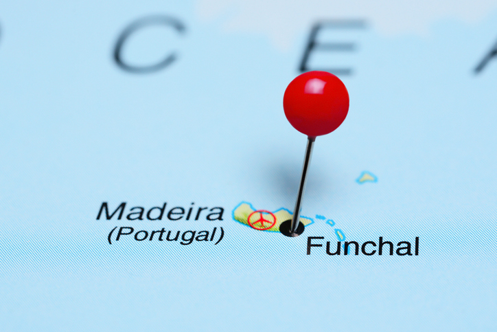 Photo of pinned Funchal on a map of Africa.